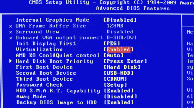 Enable VT-x in bios
