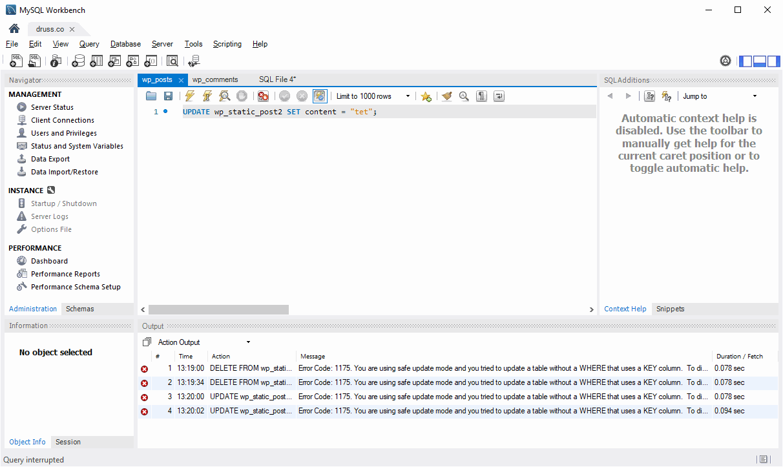 ErrorCode 1175 Safe Update Mode Fix